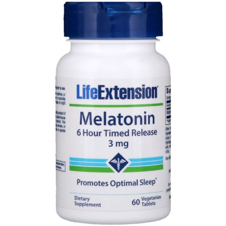 Melatonina 3mg Liberação Lenta 6 Horas 60 Caps Life Extension