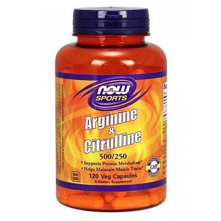 Arginina e Citrulina 500/250 120 Cápsulas Now Foods