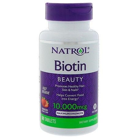 Biotina 10000 mcg Sublingual Fast Dissolve 60 Tabs Natrol