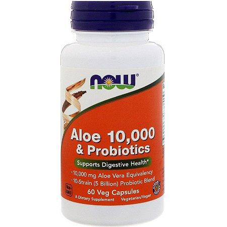 Aloe 10.000 e Probióticos 60 Caps Now Foods
