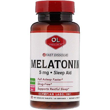 Melatonina 5mg 60 Tabletes Fast Dissolve Sublingual Olympiam Labs