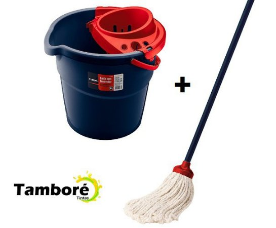 Kit Mop Algodão limpeza com cabo + balde 9 litros p/ Mop