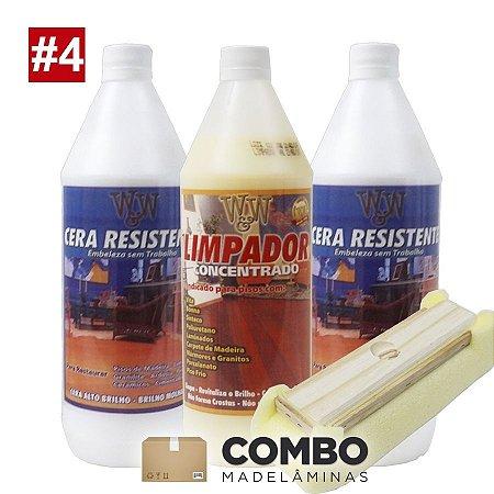 Combo - 2 litros de Cera para pisos brilhantes + 1 litro do Limpador concentrado + brinde: 1 passa cera