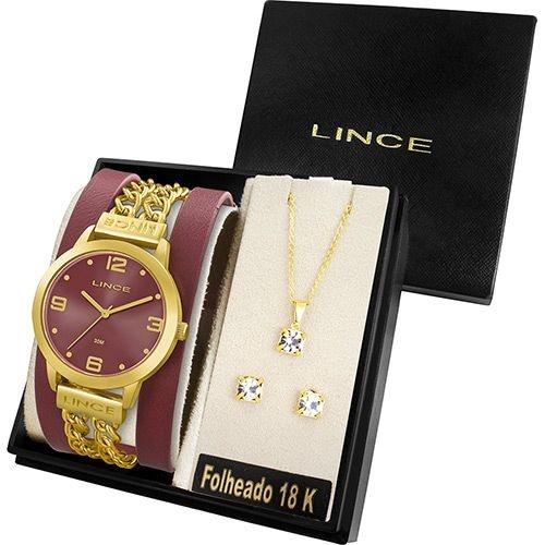 4a2907d3dfe Kit Relógio Feminino Lince Analógico Fashion com Colar e Brincos ...