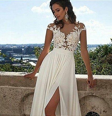 72b14c2db VESTIDO COM FENDA TULE E RENDA K D7S6JXWHC - Livia Fashion - Atelier ...