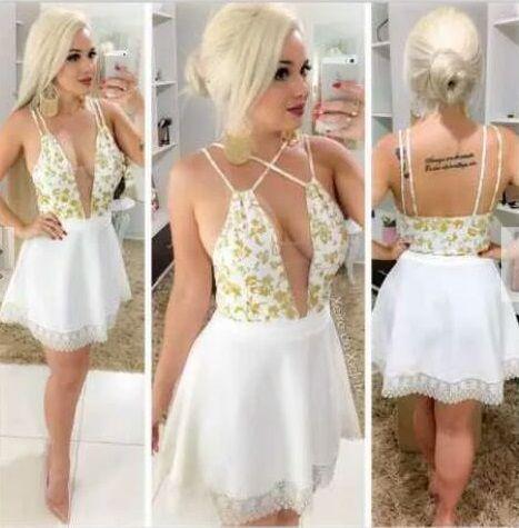 5e26d5366 VESTIDO DECOTE PROFUNDO COM RENDA E TULE K VMHTXWHJW - Livia Fashion ...