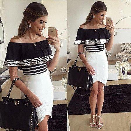 a17d7e008508 VESTIDO DE NEOPRENE PRETO E BRANCO K DA52FVW9Q - Livia Fashion ...