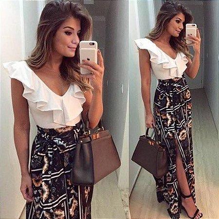 d1ef614719 CONJUNTO BLUSA CREPE E SAIA ESTAMPADA K DQW45E42L - Livia Fashion ...