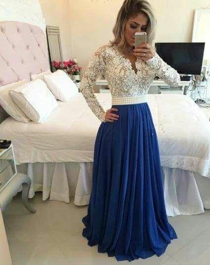 Vestido longo com perola