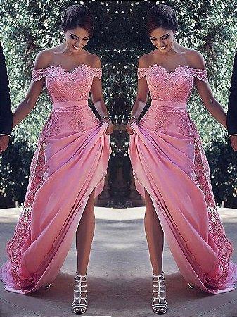 b735f2dec VESTIDO ROSA COM CALDA EM RENDA K NNH22STCJ - Livia Fashion ...