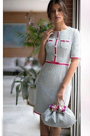 440107c9a412 VESTIDO DETALHE ROSA E BRANCO K JLHEZQXR2 - Livia Fashion - Atelier ...