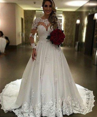8e07cc433 VESTIDO NOIVA COM TULE E RENDA K PZJAFW6L5 - Livia Fashion - Atelier ...