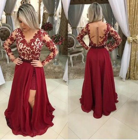 c484c1bde VESTIDO 2 EM 1 TULE E RENDA VERMELHO K 39ERZ524Q - Livia Fashion ...