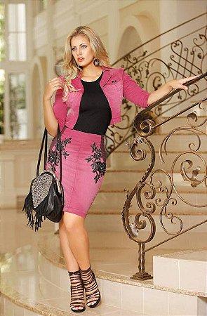 45c3200d9 CONJUNTO SAIA E JAQUETA ROSA K FZKSG5PLW - Livia Fashion - Atelier ...