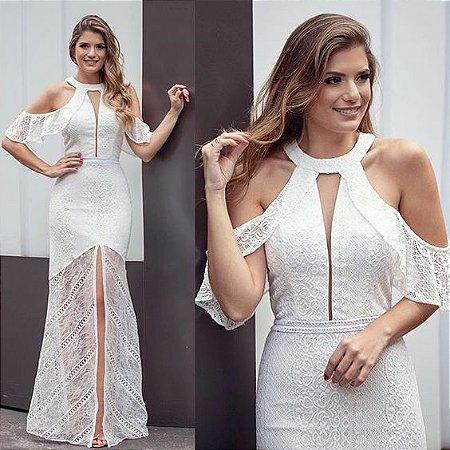 344d211f8 VESTIDO BRANCO DE RENDA COM FENDA K FJ7Q9W3VY - Livia Fashion ...