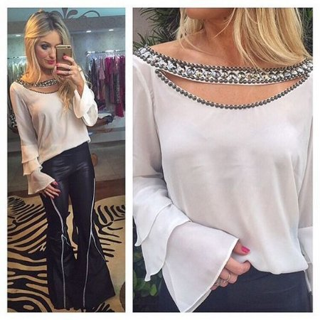dbdd6b21c BLUSA BRANCA BORDADA MANGA FLARE K WY48XVZSQ - Livia Fashion ...