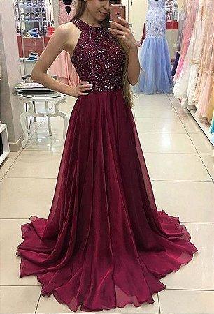 Vestido Marsala Pedraria K Rhy95gpyp Livia Fashion