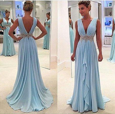 013d72b98c31 VESTIDO AZUL DECOTE V FRENTE E COSTA K TFRNT8SBC - Livia Fashion ...
