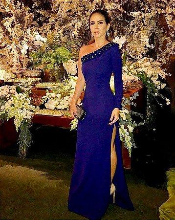 Vestido Azul Um Ombro Só Com Fenda K Jt5hr59m2