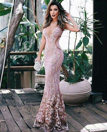 133412e97 VESTIDO ROSA TULE E RENDA BORDADO K 5V3PV5DN4 - Livia Fashion ...