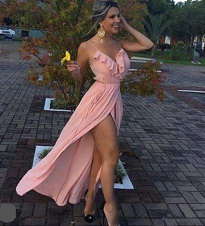 VESTIDO COM FENDA TRANSPASSADA DECOTE V COM BABADO ROSA  YF8RWWMJC