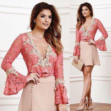 6d698473e BLUSA DE GUIPIR DECOTE V MANGA FLARE K WHJBYVV2F - Livia Fashion ...