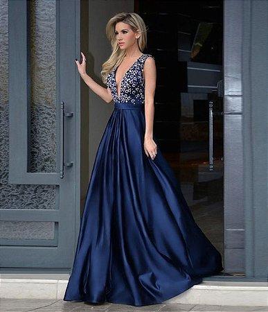 Vestido Azul Marinho Com Bordado K D945gjvyz