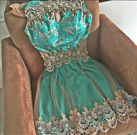89aa1a9a7 VESTIDO TULE E GUIPIR BORDADO VERDE K 46ETAFLTW - Livia Fashion ...