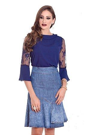 b27bf1f65945c CONJUNTO BLUSA AZUL E SAIA JEANS K A4T78J2ME - Livia Fashion ...