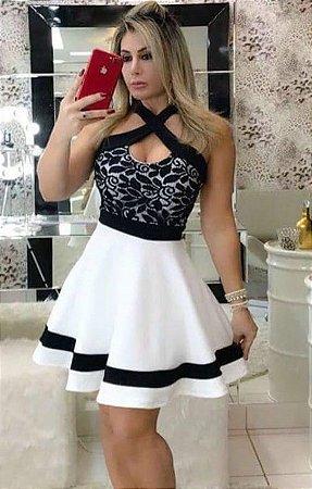 0fc2a8e2a23c VESTIDO BRANCO COM LISTRAS E RENDA PRETA K S2HAUWUMW - Livia Fashion ...