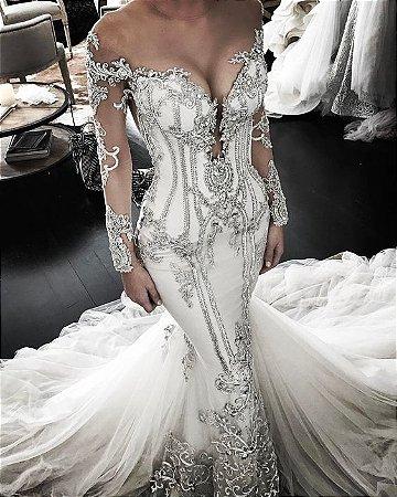 4741bf5fd VESTIDO TULE E RENDA BORDADA COM PEDRARIAS K - Livia Fashion ...