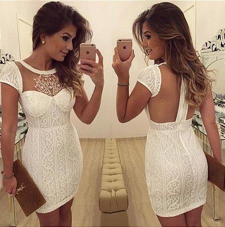 7d58e0640 VESTIDO BRANCO COM BOJO RENDA E TULE K 79KTJ96T3 - Livia Fashion ...