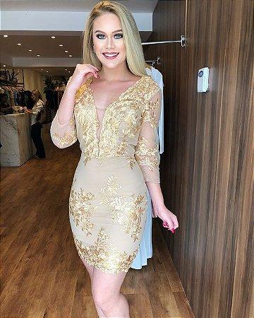 341742a12 VESTIDO NUDE DE TULE RENDA DOURADA K WSS4JQ97P - Livia Fashion ...