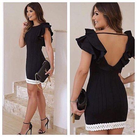 58c845b34024 VESTIDO PRETO COM RENDA BRANCA K DLZCQ9GFQ - Livia Fashion - Atelier ...
