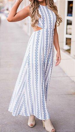 Maxi Vestido Branco Estampado K 3qlwejycd