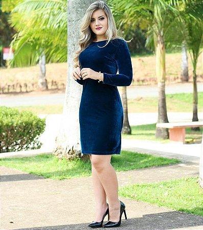 9ffe12d41 VESTIDO AZUL DE VELUDO MANGA LONGA K 44EMR3Y2B - Livia Fashion ...
