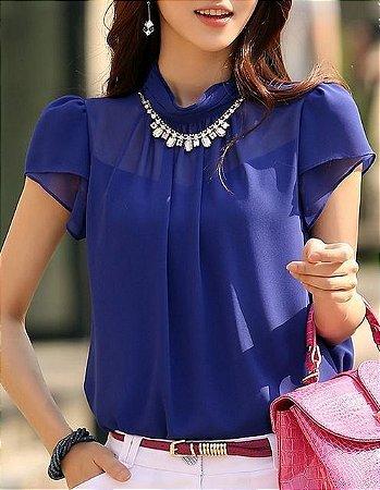 Blusa Azul Com Detalhes Plissados K 65qcq4y93
