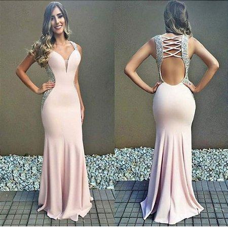 Vestido Bordado Lateral H8sr6wjtq L Rose Sereia Com fyY67bg