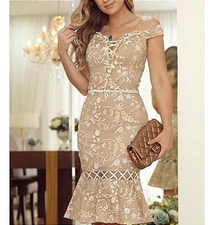 99dbd478d VESTIDO RENDA TULE COM DETALHES FLORAL AFSR94MMRC - Livia Fashion ...