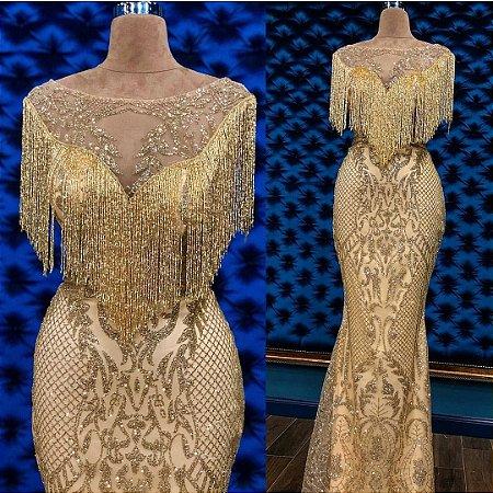 f893f14e2 VESTIDO BORDADO DOURADO SEMI SEREIA A 5BD8R48DJ - Livia Fashion ...