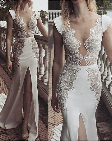 8fe4442ee VESTIDO BRANCO COM RENDA E FENDA K GXBQXRMG5 - Livia Fashion ...