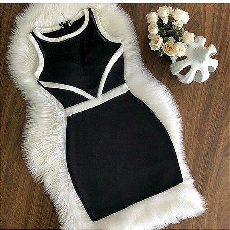 c12e0fecf81e VESTIDO PRETO COM DETALHES BRANCOS K Y2574UABG - Livia Fashion ...