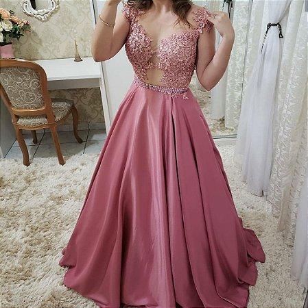 f26210526 VESTIDO ROSA COM RENDA DECOTE EM TULE K KEAKFSECP - Livia Fashion ...