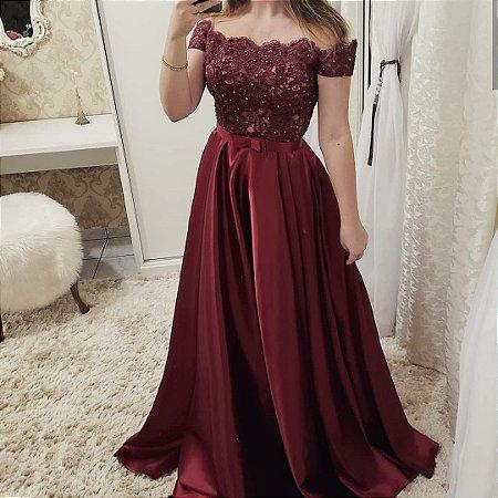 Vestido Vinho Com Renda E Pérolas K Waf6ftsgu