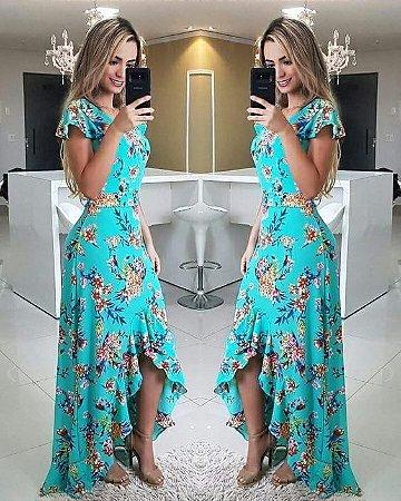 Vestido Azul Estampado Com Babado K Ndcssm2mm