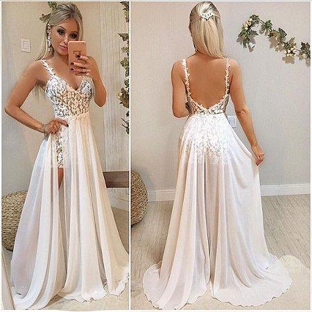 2966b0f134 VESTIDO BRANCO COM HOT PANTS DE RENDA K AJBYMHZK6 - Livia Fashion ...