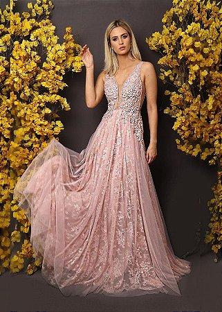 1bf3f04c3 VESTIDO ROSA DE RENDA E TULE K 6FUN8GC6T - Livia Fashion - Atelier ...