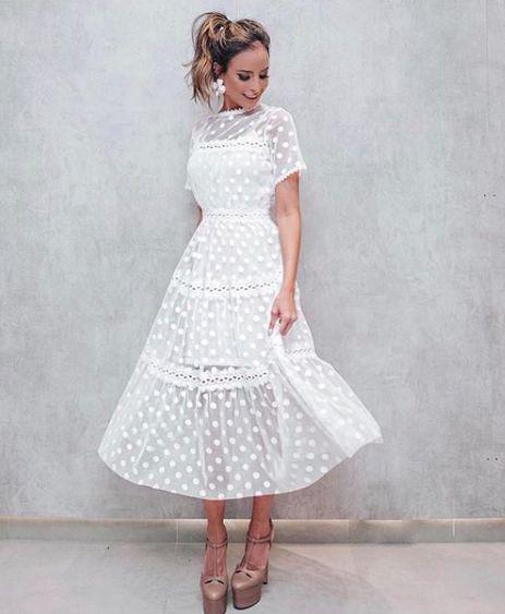 Vestido Branco Tule Poá E Renda Com Fôrro K B8nlyk8ls