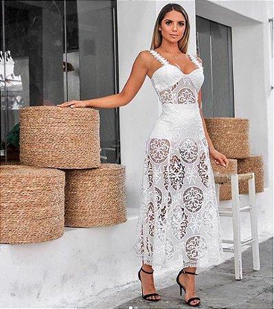 7f738d5463 VESTIDO DE RENDA BRANCO COM HOT PANTS K MS5EQZVWQ - Livia Fashion ...