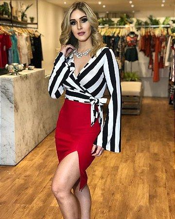 11048c8496 CONJUNTO BLUSA LISTRADA E SAIA COM FENDA K NTBHJKB7L - Livia Fashion ...
